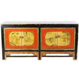 Antique Mongolian 4 Door Sideboard Cabinet 68 inch long