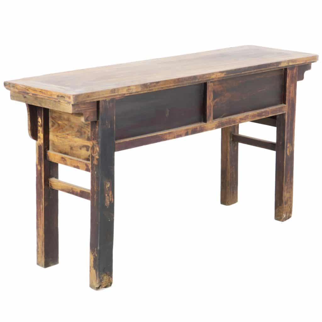 Antique Chinese 60 Inch Long 2 Drawer Elm Table Dark