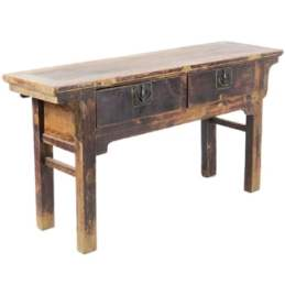 Antique Chinese 60 inch long 2 drawer Elm table