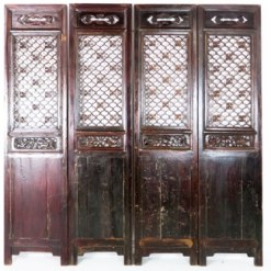 4 Antique Chinese Dark Brown Carved Doors 20 Inch Wide 85 Tall