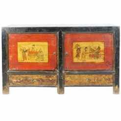 Antique Mongolian 2 Door Sideboard Cabinet 53 inch long