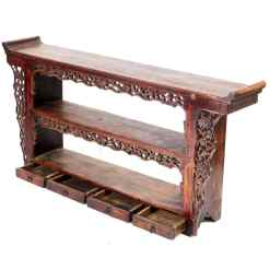 Antique Chinese Small Carved Altar Display Bookshelf Table