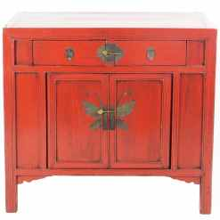 Antique Chinese Red 37 inch Wide 2 Door Cabinet End Table