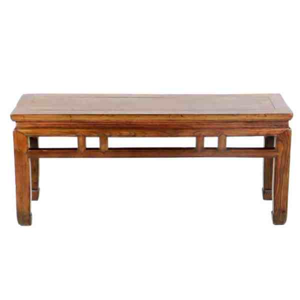 Antique Chinese Fancy Wood Bench 44 inch Long