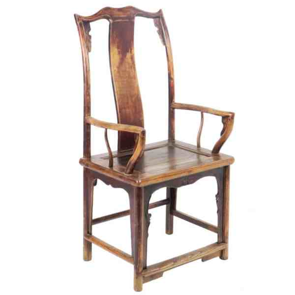 Antique Chinese High Back Elm Armchair Arm Chair