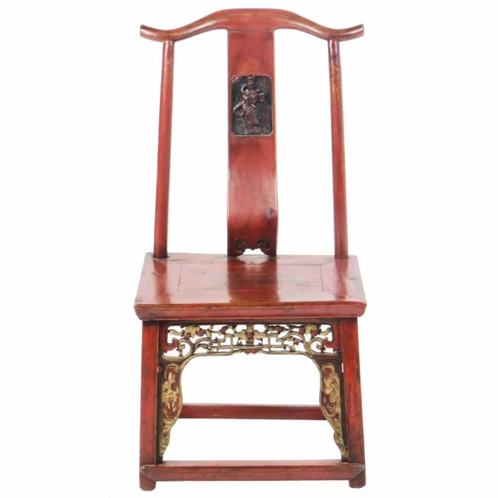 Antique Chinese Red Child's Chair with Carvings - Antique Chinese Red Child's Chair With Carvings, Child Bride's Seat