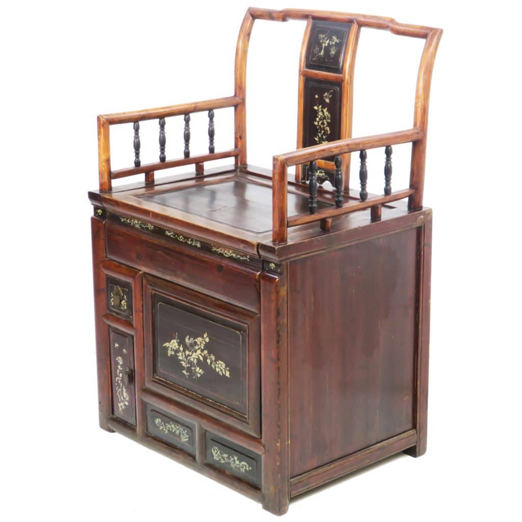 Unusual Antique Chinese Chair ... - Unusual Antique Chinese Chair With Cabinet Storage Under Seat