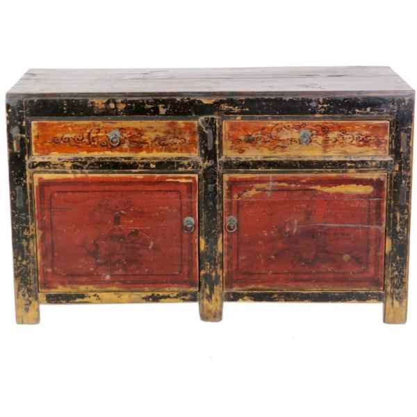 Antique Mongolian Chinese 2 Door Sideboard Cabinet Red Black