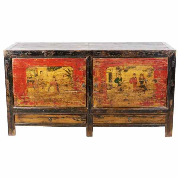 Antique Mongolian Chinese 2 Door Sideboard Cabinet 62 inch long