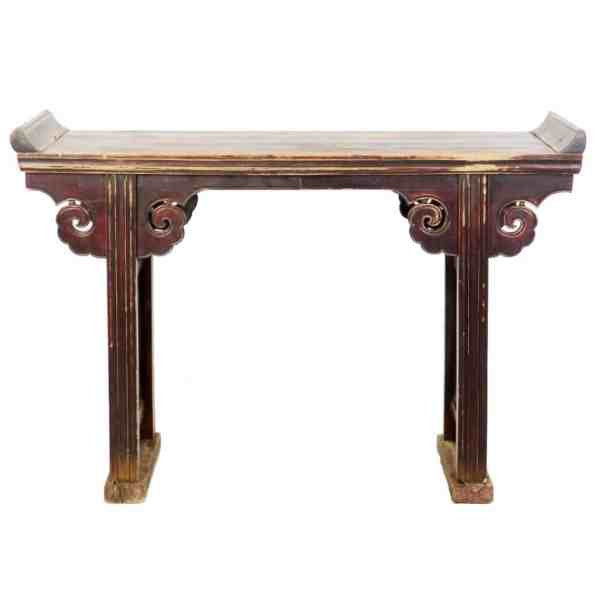 Antique Chinese 52 Inch long Altar Table brown lacquer