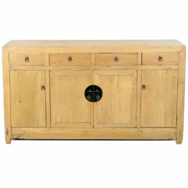 Antique Chinese Scrubbed Pine 59 inch Sideboard Buffet Cabinet