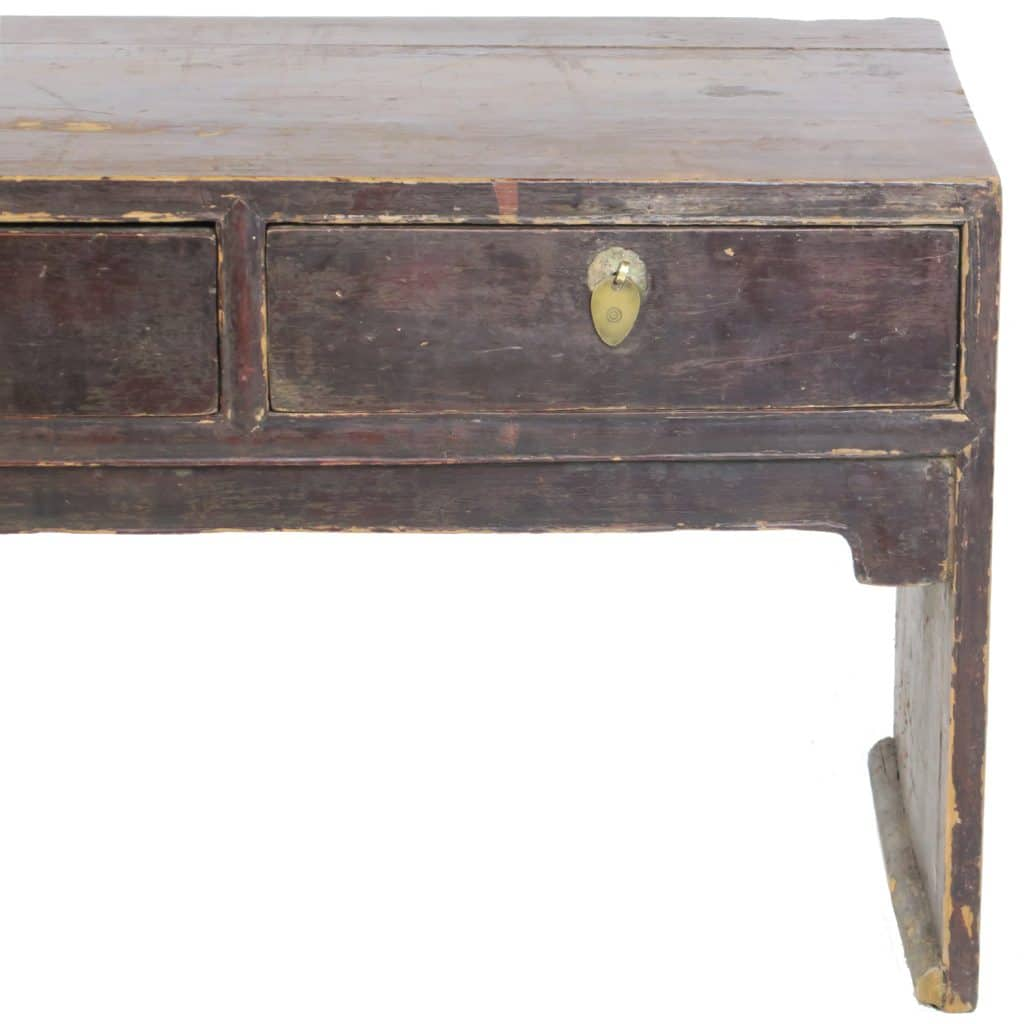 Antique Chinese 50 Inch Long 3 Drawer Low Kang Table Dark