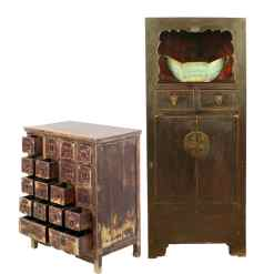 Antique Chinese Apothecary and Display Cabinets