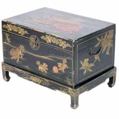 Antique Chinese Black and Gold Trunk with Stand
