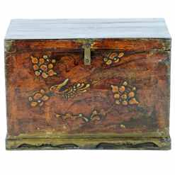 Antique Chinese 26 Inch Wide Wood Trunk Chest