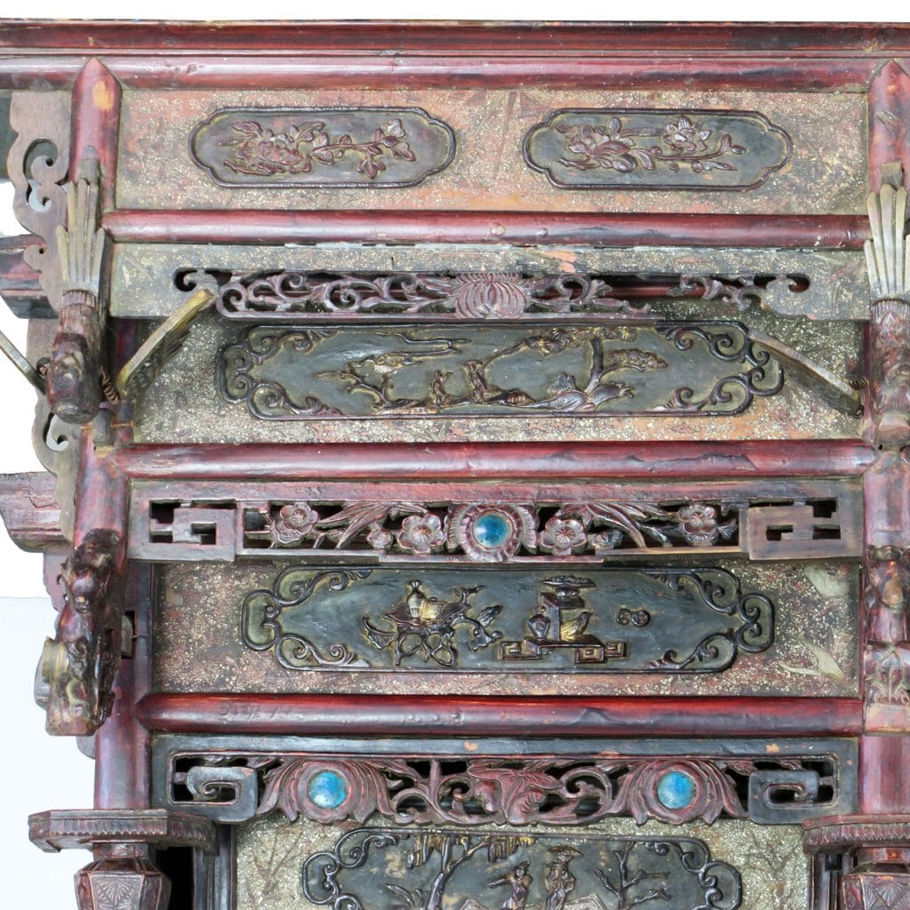 Antique Bed: Antique Chinese Wedding Canopy Bed With Intricate Carvings
