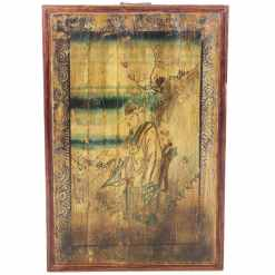 Vintage Chinese Painted Wood Panel