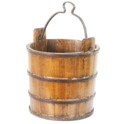 Vintage Chinese Wood Water Bucket with Wrought Iron Bands