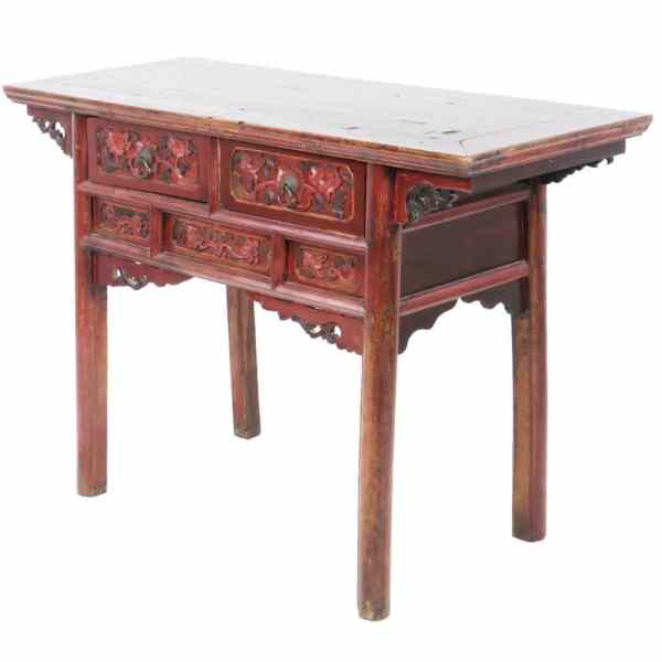 Antique Chinese 50 Inch Table with Carvings