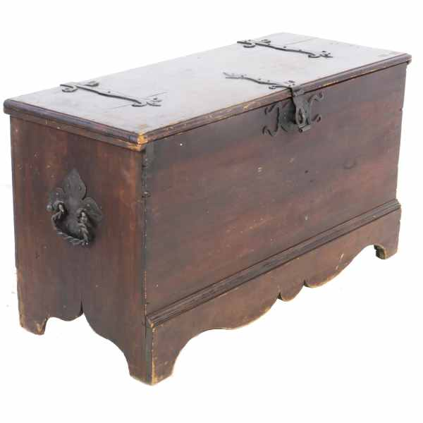 Antique Pine Blanket Chest with Fancy Wrought Iron Hardware