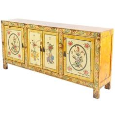 Mongolian Chinese Yellow Sideboard Cabinet