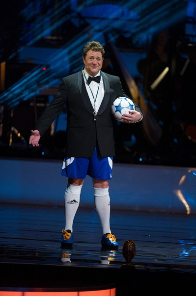 Compere Michael Ball pays homage to 'Bend It Like Beckham' musical on the evening