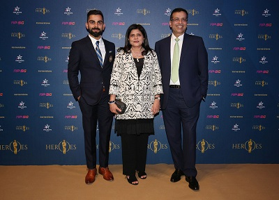 Virt Kohli (India captain) and Sanjiv Goenka and Preeti Goenka