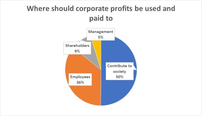 Where should corporate profits be used and paid to survey