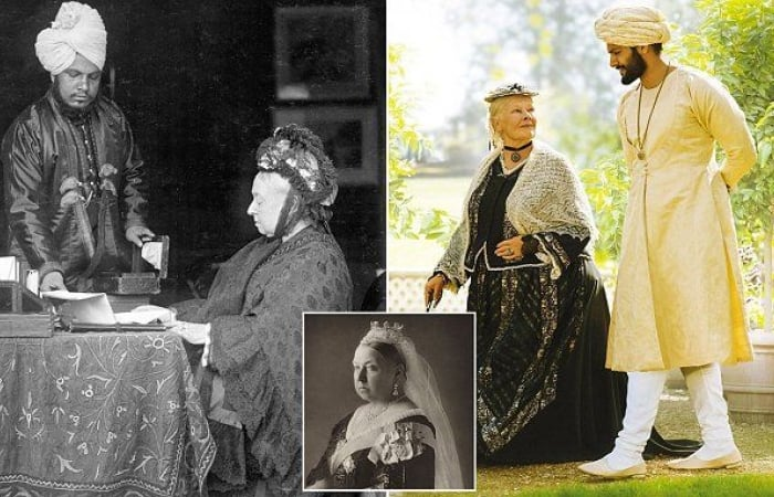 Photographs of actual Queen Victoria and Abdul (left) and the on-screen duo (right) - Judi Dench - Ali Fazal - Victoria and Abdul