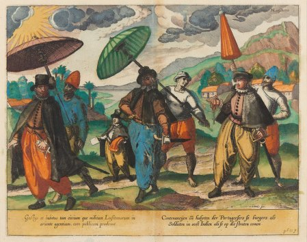 Comportment and dress of the Engraving: Portuguese citizens and soldiers in East India (1599), after Jan Huygen van Linschoten
