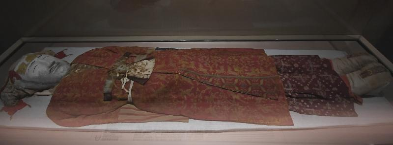 Costume of an aristocrat from a tomb at Yingpan, Han to Jin dynasty. Collection of Xinjiang Archaeological Research Institute
