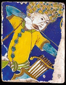 Safavid tile showing an archer, early 17th century