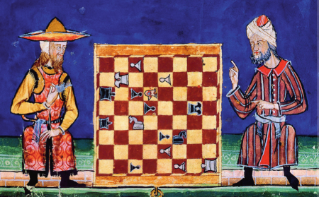 A Jew and a Muslim playing chess in 13th century al-Andalus. El Libro de los Juegos, commissioned by Alphonse X of Castile (Wikimedia Commons)