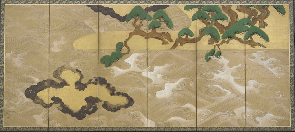 """Waves at Matsushima"", Tawaraya Sōtatsu, 17th c. (Wikimedia Commons)"