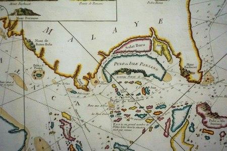 Detail of Carte Reduite des Detroits de Malaca, Singcapour et du Gouverneur, Nicolas Bellin, 1755 (Wikimedia Commons)