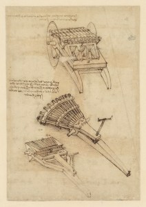 Multiple Cannon Mechanisms, circa 1480-82 (Veneranda Biblioteca Ambrosiana via CityU Exhibition Gallery)