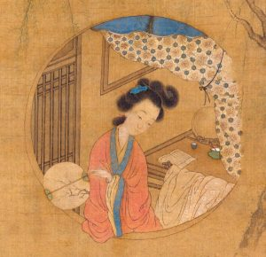 Portrait of Li Xiangjun (Frangrant Princess), immortalised in The Peach Blossom Fan; Cui He, 1817 (Metropolitan Museum of Art)