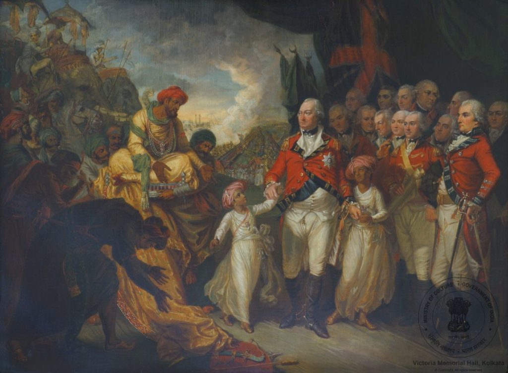 Lord Cornwallis receiving the Hostage Princes [sons of Tipu Sultan], Mather Brown 1793