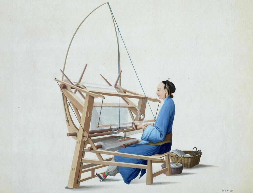 Woman Weaving Cotton, Guangzhou ca 1790 (Victoria and Albert Museum)