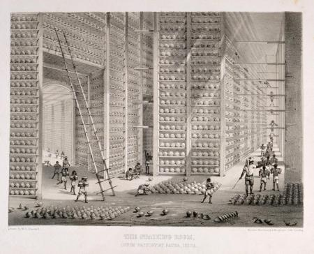 """The Stacking Room: Opium Factory at Patna"""" (1851) (Wellcome Collection)"""