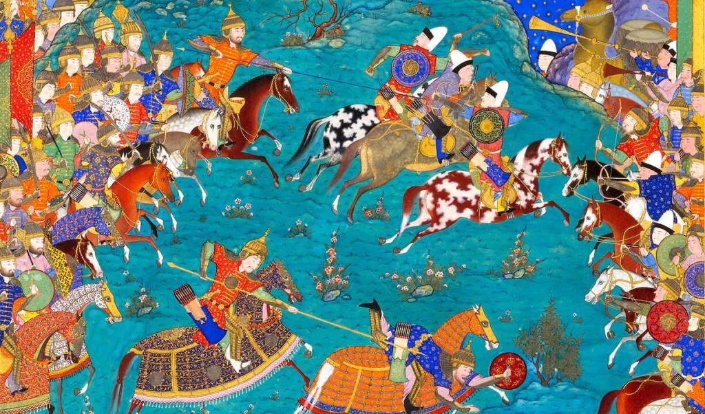 Detail from Qaran Unhorses Barman, a folio from the Shahnameh of Shah Tahmasp, Tabriz, ca 1523 – 35 from the Sarikhani Collection (V&A)