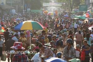 ミャンマー カチン州 ミッチーナ 市場