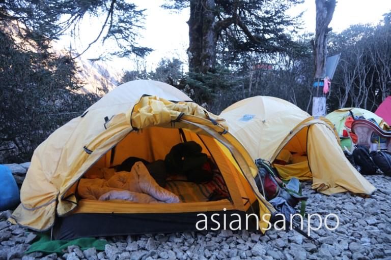 ネパール エベレスト街道 タンボチェ寺院 テント