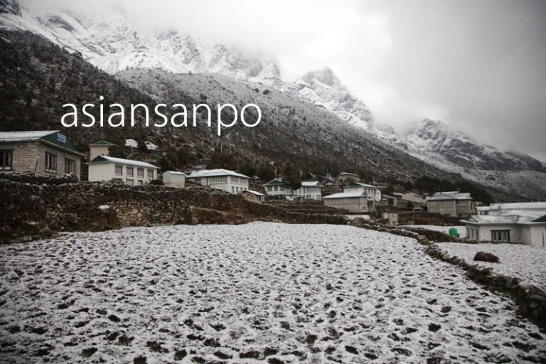 ネパール エベレスト街道 クンデ 雪