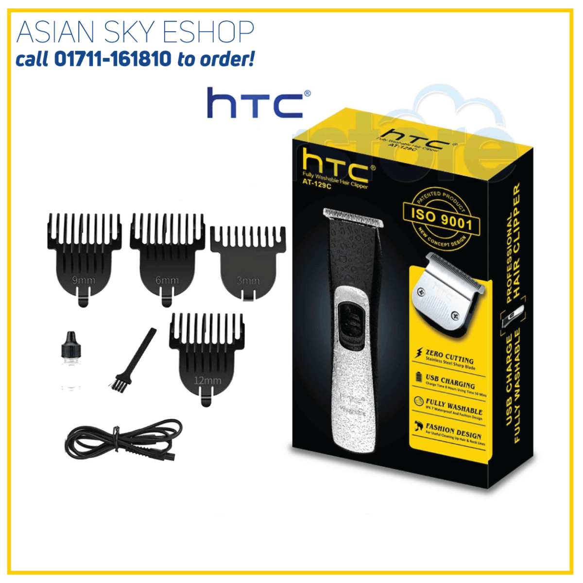 NEW MODEL proffesional HTC AT 129C waterproof hair clipper, hair trimmer , hair cutter for men women kids or family EASY to use 100% ORIGINAL [ FAST DELIVERY