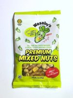 A green and white bag with a wasabi character and the words preimum mixed nuts written
