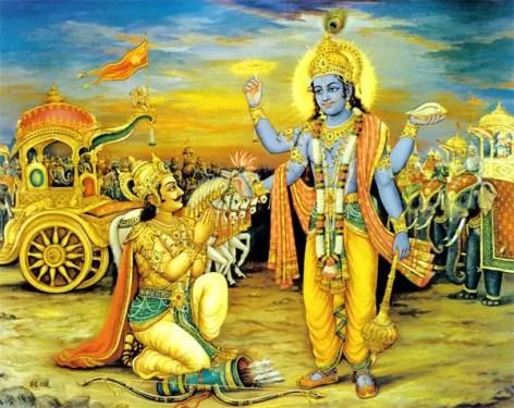 Dialogue entre Arjuna et Krishna Hindouisme