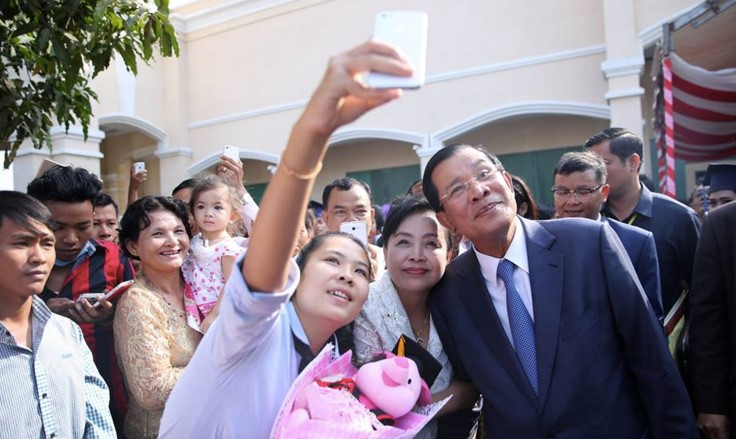 Cambodia PM Hun Sen poses for a selfie. Photo from his Facebook page.