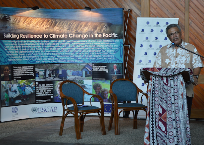 Tuvalu Prime Minister Enele Sosene Sopoaga delivers the keynote address at the opening of the regional meeting on climate change and displacement at the Pacific Islands Forum in Suva tonight. Image: UNESCAP