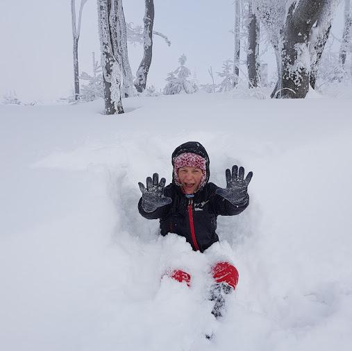 dziewczyna, zima, śnieg, góry